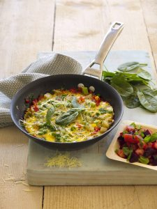 Capsicum omelette with beetroot and tomato salsa