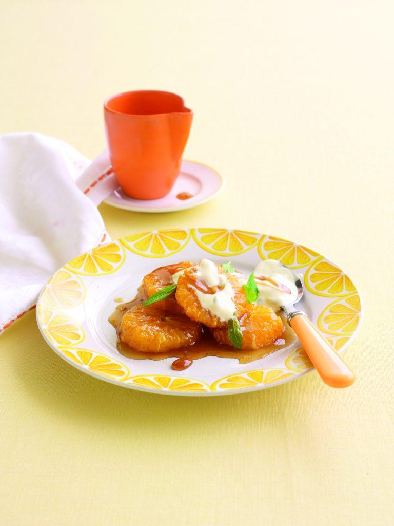 Caramelised oranges with passionfruit yoghurt