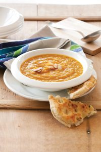 Carrot and caraway soup with toasted almonds