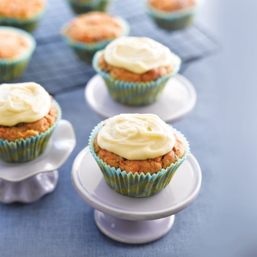 Carrot cupcakes with pineapple and raisins