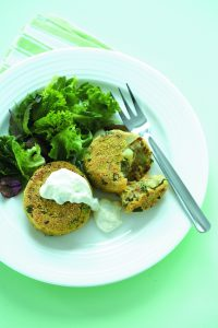 Carrot and lentil patties with tzatziki