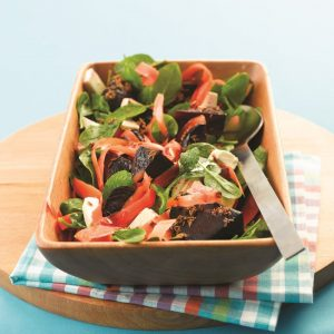 Carrot, beetroot and cumin salad with feta and mint