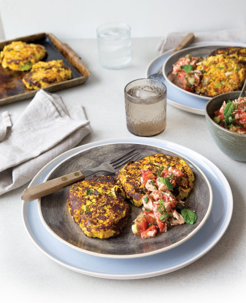Cauliflower, lentil and pumpkin fritters with minty salsa