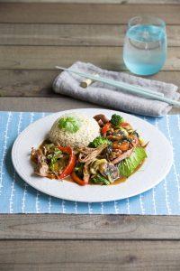 Char siu pork roast with stir-fried sesame vegetables