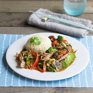 Char siu pork roast with stir-fried sesame vegetables