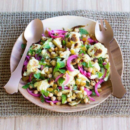Chargrilled cauliflower salad with chickpeas and quick-pickled onions