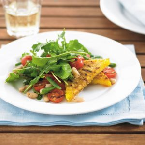 Chargrilled polenta with bean, tomato and rocket salad