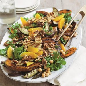 Chargrilled pumpkin and haloumi salad with chickpeas