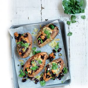 Cheddar, bean and coriander-stuffed kumara
