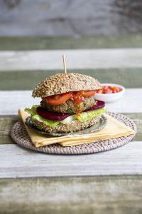 Cheese and barley beef burgers with crusty rolls