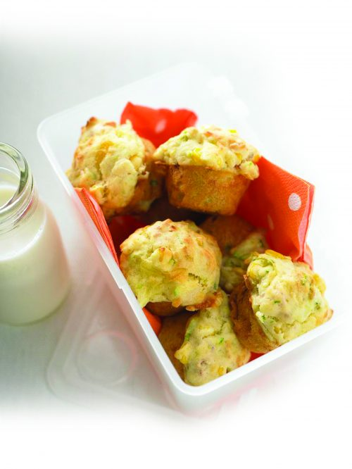 Cheesy ham and corn mini-muffins