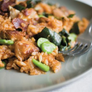 Chicken and bacon paella