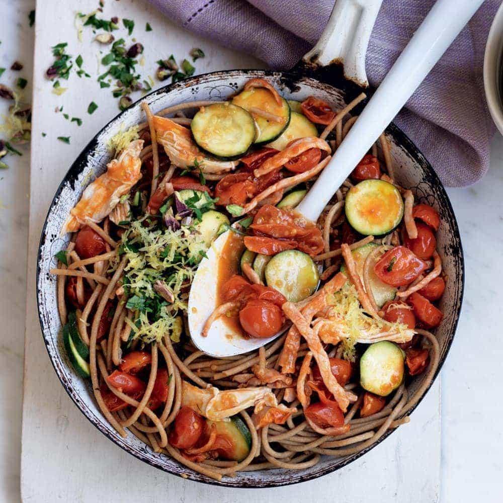 Chicken and bacon spaghetti with pistachio gremolata