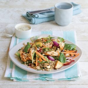 Chicken and barley salad with potatoes