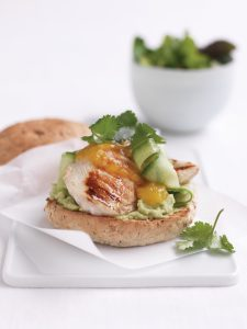 Chicken and mango chutney burger