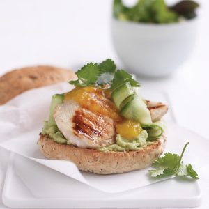 Chicken and mango chutney burger