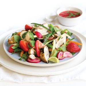 Chicken and mint salad with lime and strawberry dressing