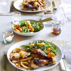 Chicken bake with sweet roasted veges and rocket and mandarin salad