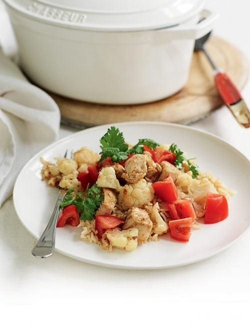 Chicken biryani with tomato and coriander salsa
