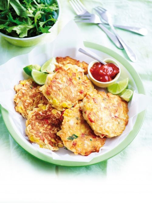 Chicken, corn and red capsicum fritters