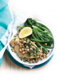 Chicken piccata with chickpeas and steamed greens
