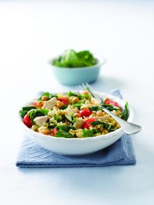 Chicken and chickpea rice salad
