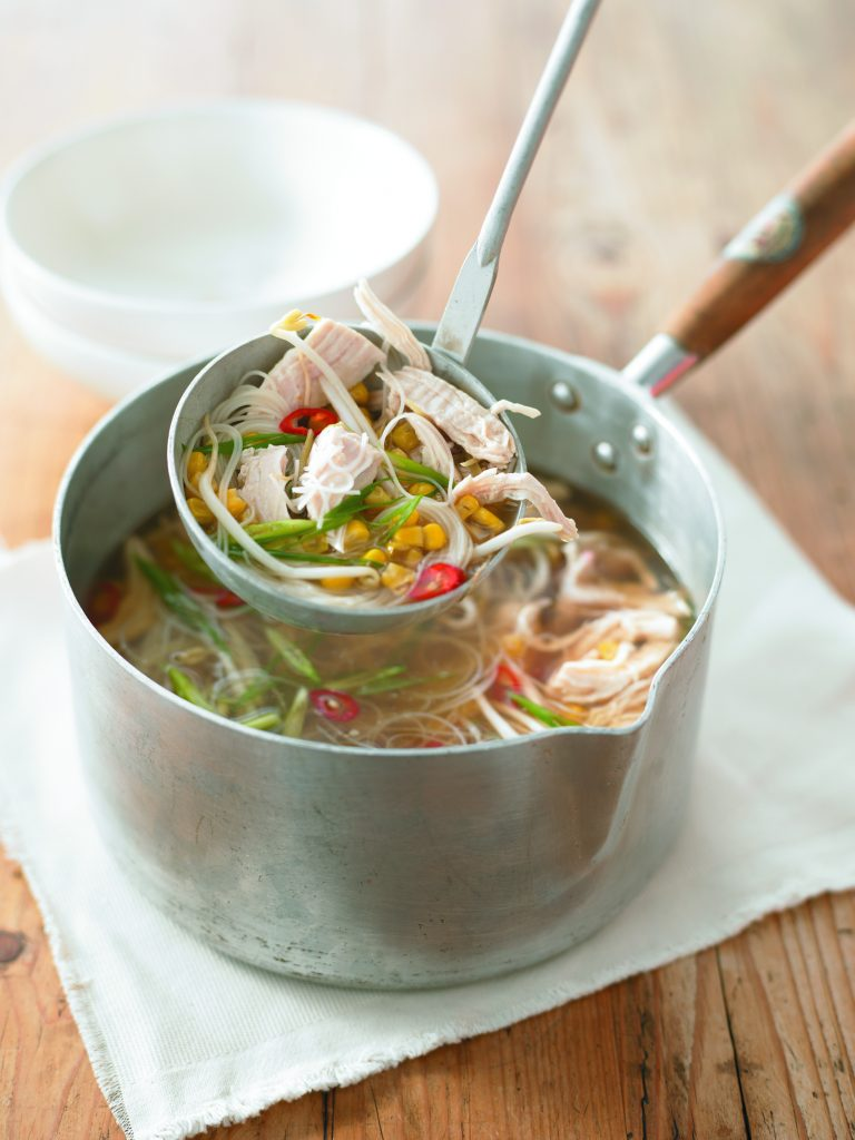 Chicken and corn noodle soup