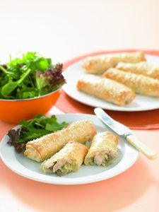 Chicken and mushroom filo rolls