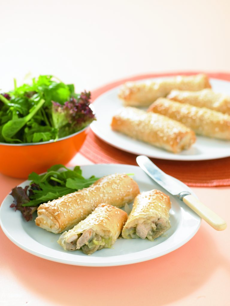Chicken and mushroom filo rolls