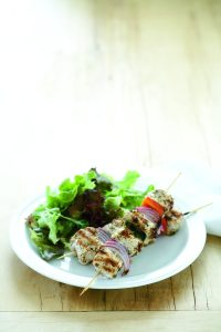 Chicken and vegetable souvlaki
