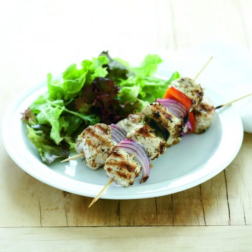 Chicken and vegetable souvlaki