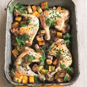 Chicken, leek and pumpkin bake