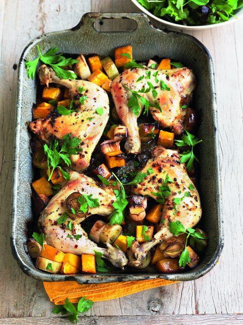 Chicken, leek and pumpkin bake