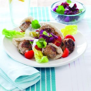 Chicken meatballs with beetroot salsa