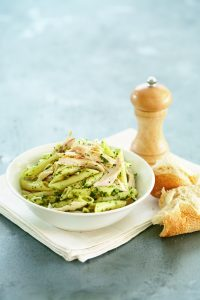 Chicken pasta with basil, parsley and caper sauce