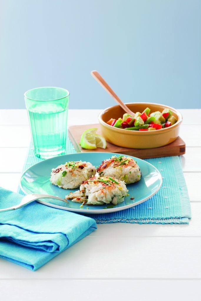 Chicken potato patties with bean and avocado salad