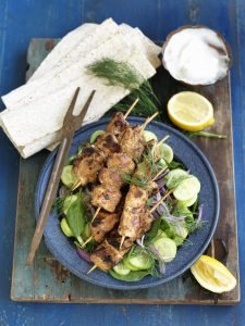 Chicken shawarma with cucumber and dill salad