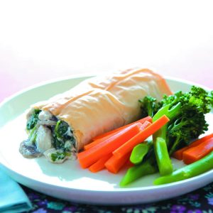 Chicken, tofu and mushroom parcels