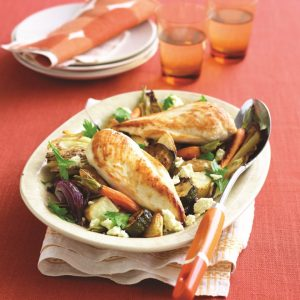 Chicken with roasted veges and feta