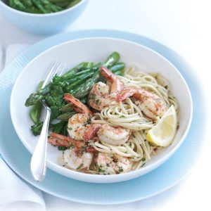 Chilli and lemon prawn linguine