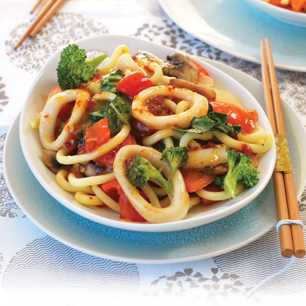 Chilli and lime stir-fried calamari
