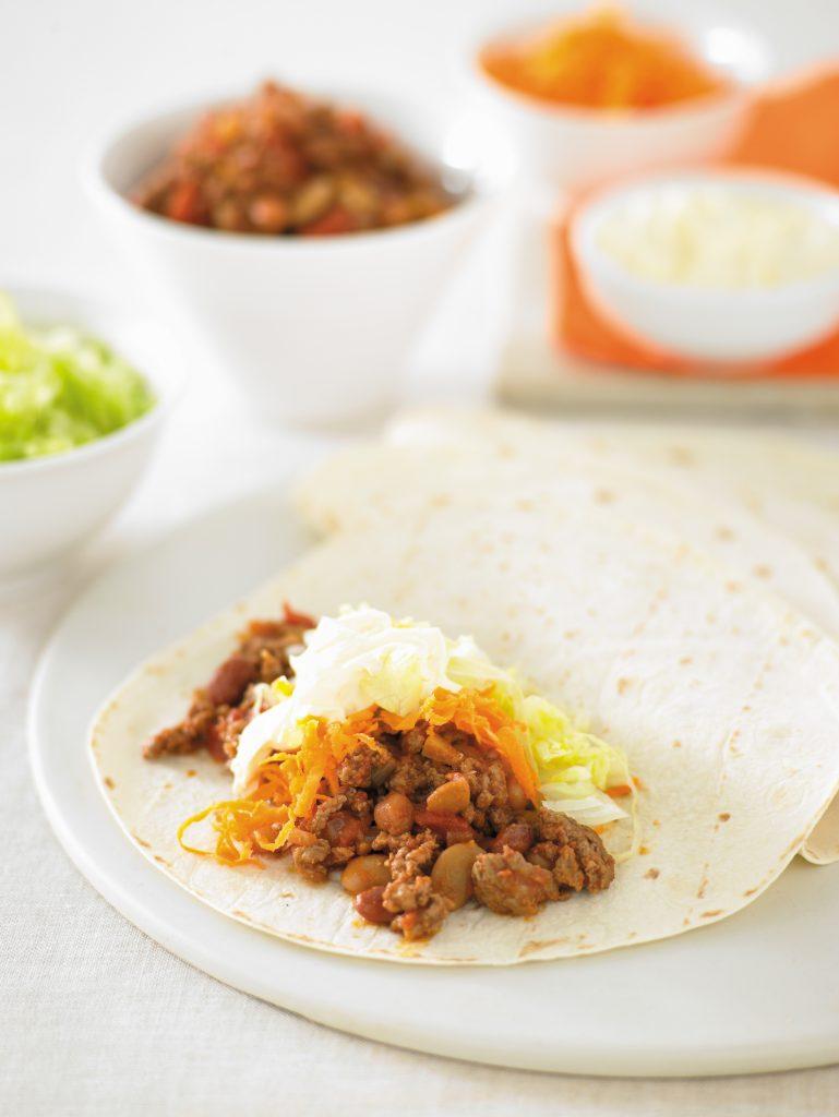 Chilli beef and bean burritos