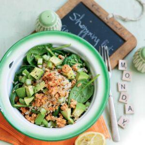 Chilli salmon and rice salad