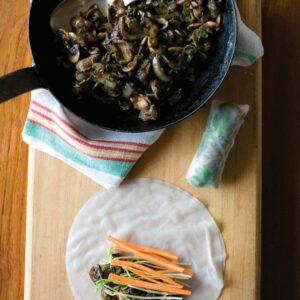 Chilli mushroom rice paper rolls