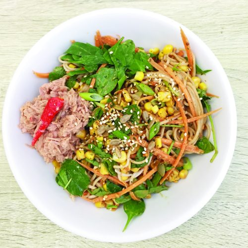 Chilli tuna noodles with miso peanut dressing