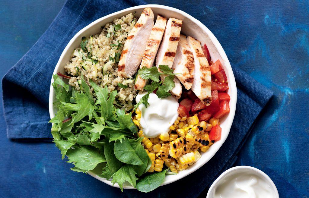 Chipotle chicken and quinoa burrito bowl