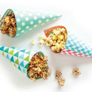 Choc-sesame popcorn cones