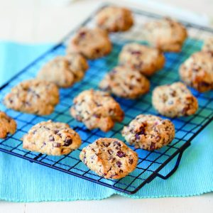 Chocolate chip, cranberry and almond cookies