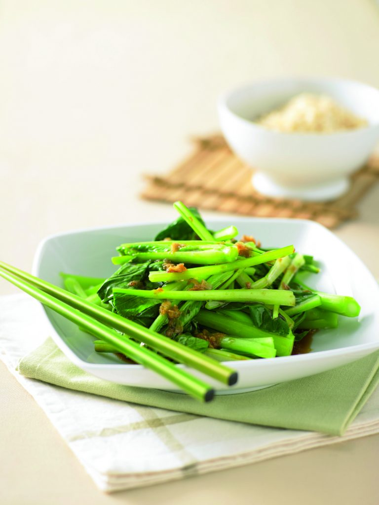 Choy sum with soy and ginger dressing