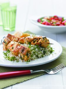 Citrus fish kebabs with couscous